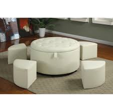 Tray Top Storage Ottoman Coffee Table Square Black Leather With Ottomans And Storage