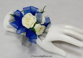 white blue ribbon corsage boutonnieres prom homecoming vickie s flowers brighton