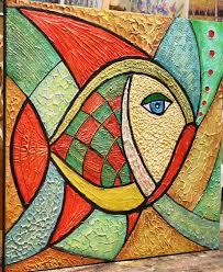 original fish painting abstract textured large artwork modern