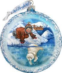 painted scenic glass ornament alaska boy polar