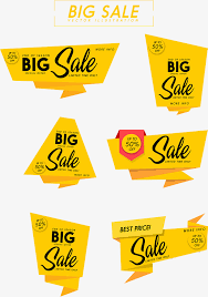 sales decoration collection yellow origami label sale png and