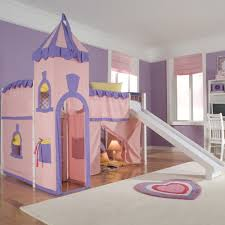 house twin princess low loft bed with slide wayfair 755