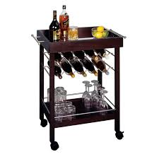 Bar Mirror With Shelves by Winsome Wood Rolling Mirror Top Bar Cart With 10 Bottle Wine Rack