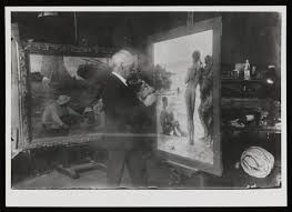 Photography Lovers Photograph Showing Henry Scott Tuke In His Studio Painting U0027lovers
