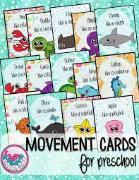 ocean animals movement cards for preschool and brain break gross