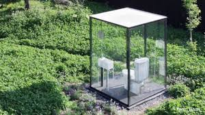 See Through Bathroom Public Restroom In Japanese Garden Comprised Of See Through Glass