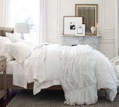 White Ruffled Comforter Tencel Duvet Cover U0026 Sham Pottery Barn