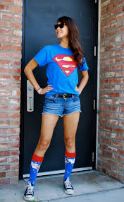 comic fest superman shirt and wonder woman socks geeky