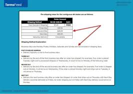 sample shipping policy template