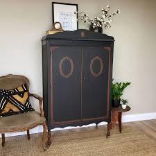 Victorian Armoire Wardrobe Antique Chifferobe Black Armoire Vintage Furniture Armoire