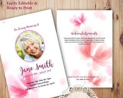 Where To Print Funeral Programs Funeral Announcement Etsy