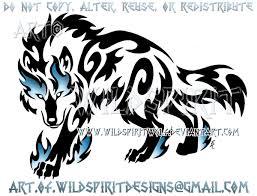 blue prowling tribal wolf design by wildspiritwolf on deviantart