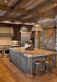 cuisine bois rustique mélange de bois acier et marbre pour cette cuisine à la