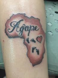 love thyself tattoo rwandan colors without agape and one set of footprints heart