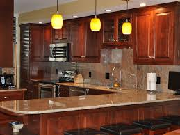 Painted Wooden Kitchen Cabinets Ceiling Lighting Ideas White Countertops Kitchens With Cherry