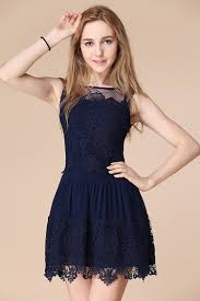 dark navy blue lace short homecoming dresses junior simple party
