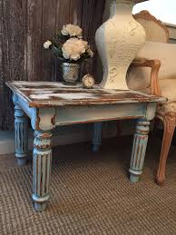 chippy paint end table aqua turquoise blue rustic distressed chalk