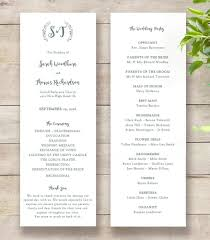 wedding program order rustic printable wedding program order of service template