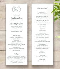 order of wedding program rustic printable wedding program order of service template