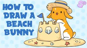 how to draw a beach bunny drawing tutorial free template youtube