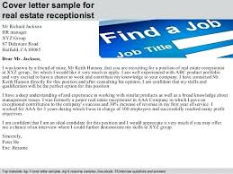 receptionist cover letter receptionist cover letter cover letter sle for real estate