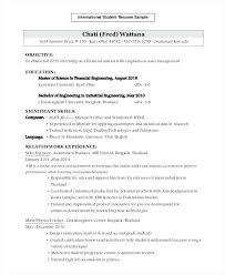 Engineering Internship Resume Template Sample Engineering Student Resume International Student Sample