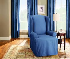 Sure Fit Cotton Duck T Cushion Sofa Slipcover by Amazon Com Sure Fit Duck Solid Wing Chair Slipcover Bluestone