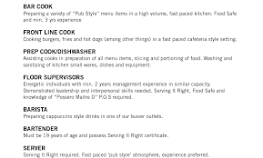 exles of resumes for restaurant restaurant manager resume exle fast boiler plant operator cover