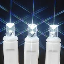 white wire wide angle white 50 bulb led lights sets