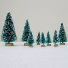 eight green bottlebrush christmas trees by just add a dress