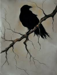 halloween ravens clipart illustrations creative raven on a branch 2 original charcoal drawing 9 5