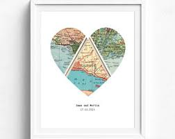 wedding gift map personalised map etsy