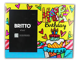 romero britto photo frame happy birthday hearts pattern of brazilian artist