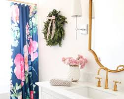 Navy And Pink Curtains Navy Shower Curtain Etsy