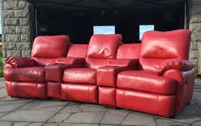 dfs red leather cinema recliner sofa couch suite delivery
