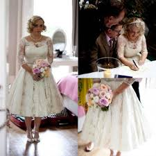 plus size wedding dresses with sleeves tea length discount modest plus size lace garden wedding dresses capped
