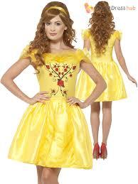 yellow fairytale beauty costume womens short princess fancy dress