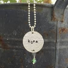 name and birthstone necklace hammered birthstone name necklace hip jewelry