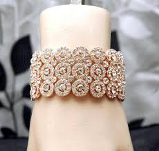 rose gold hand bracelet images Rose gold wedding bracelet bridal cuff bracelet rhinestone rose jpg
