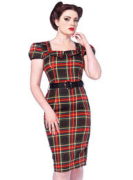 pretty in plaid retro pin up pencil dress by voodoo vixen