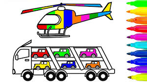 learn colors for kids with car and truck coloring pages plane
