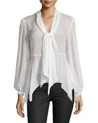swiss dot blouse bcbgmaxazria swiss dot tie neck blouse white neiman