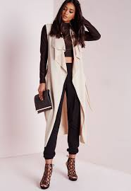 missguided sleeveless belted waterfall duster coat camel in