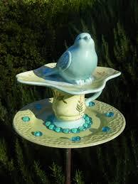 Upcycled Garden Decor Whimsical Bird Feeder Repurposed Garden Art Garden Whimsy