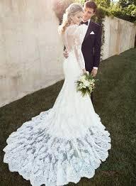 sheer lace back long sleeves lace mermaid wedding dress