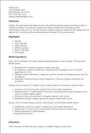 Examples Of Objective In A Resume by Professional Community Health Worker Templates To Showcase Your