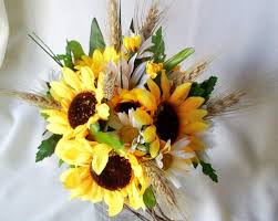 sunflower bouquets sunflower bouquet twine wrap fall weddings silk bridal bouquet