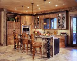 kitchen rustic kitchen lighting design with wooden chairs and