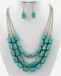 strand necklace images Turquoise bead multi strand necklace with matching earrings gift jpg