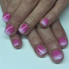 sns nails with ombré pink to white amare hair u0026 beauty